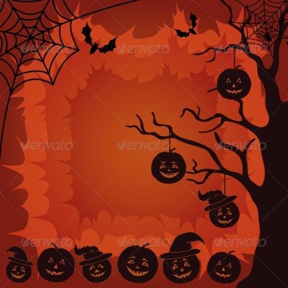 Halloween Landscape with Pumpkins and Bats - Halloween Seasons/Holidays