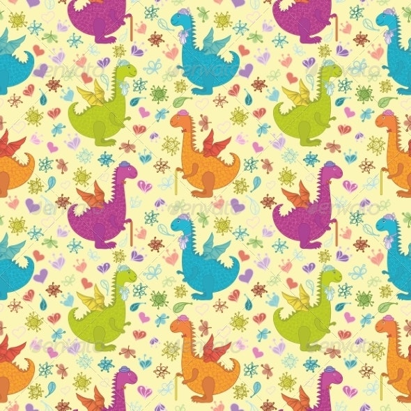 Seamless Dragon Pattern - Monsters Characters