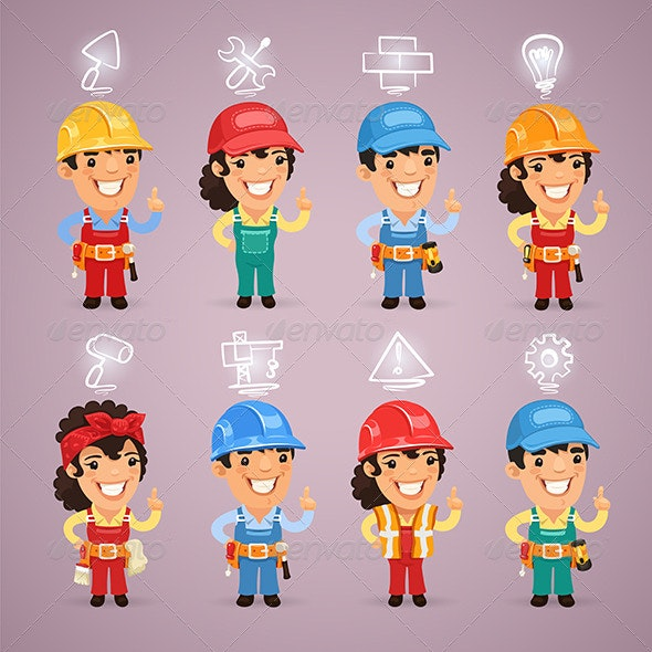 Builders with Icons Set - People Characters