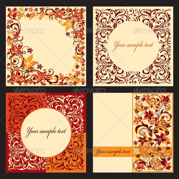 Vector set of autumn cards with a floral pattern.  - Borders Decorative