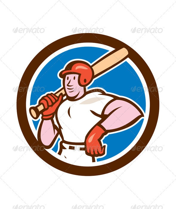 Baseball Player Holding Bat Cartoon - Sports/Activity Conceptual