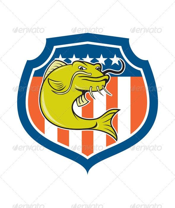 Catfish Angryfish Shield Cartoon - Animals Characters