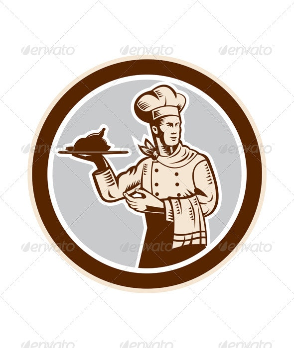 Chef Cook Serving Food Platter Circle Retro - People Characters