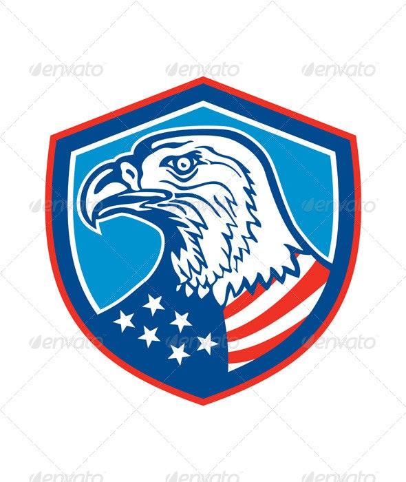 American Bald Eagle Head Shield Retro - Animals Characters