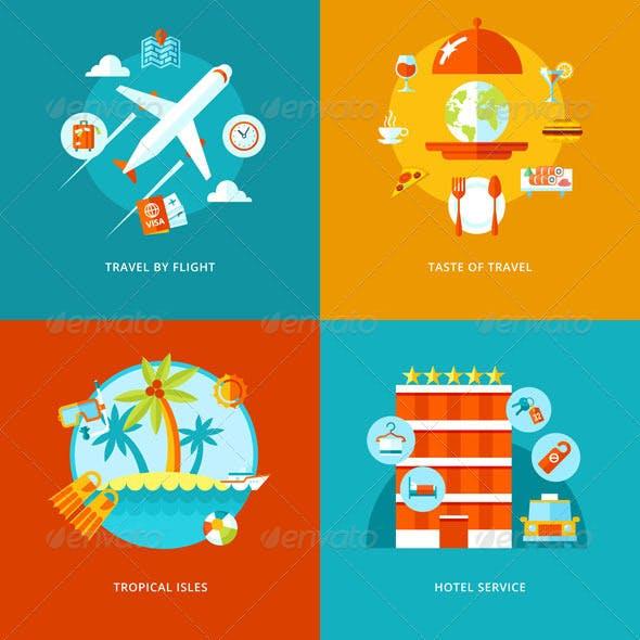 Flat Travel Vector Icons Set