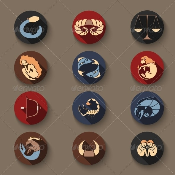 Set of Zodiac Icons - Animals Characters
