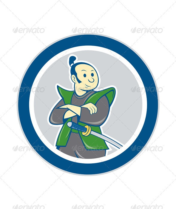 Samurai Warrior Arms Folded Circle Cartoon - People Characters
