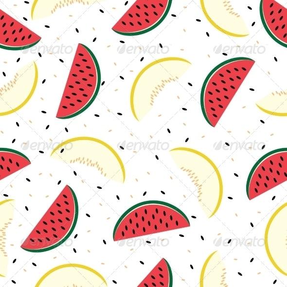 Watermelon and Cantaloupe Seamless Pattern - Food Objects