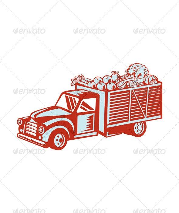 Vintage Pickup Truck Delivery Harvest Retro - Travel Conceptual