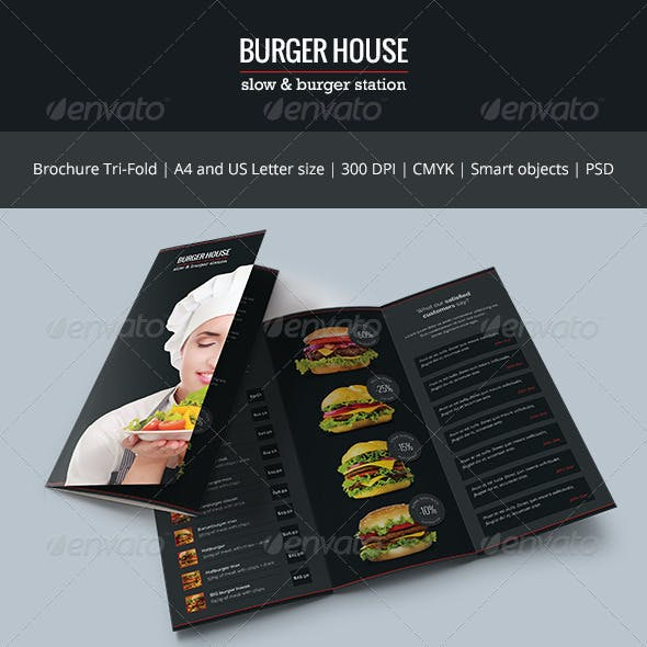 Burger House Brochure Tri-Fold