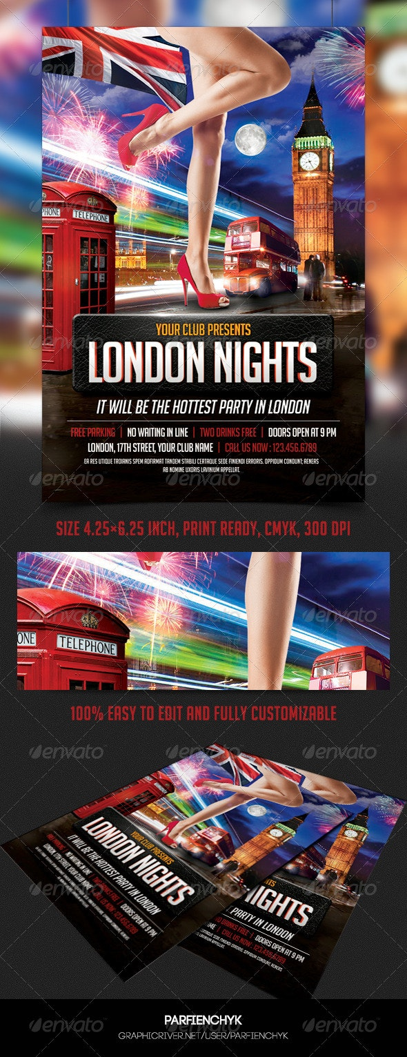 London Nights Party Flyer Template - Clubs & Parties Events