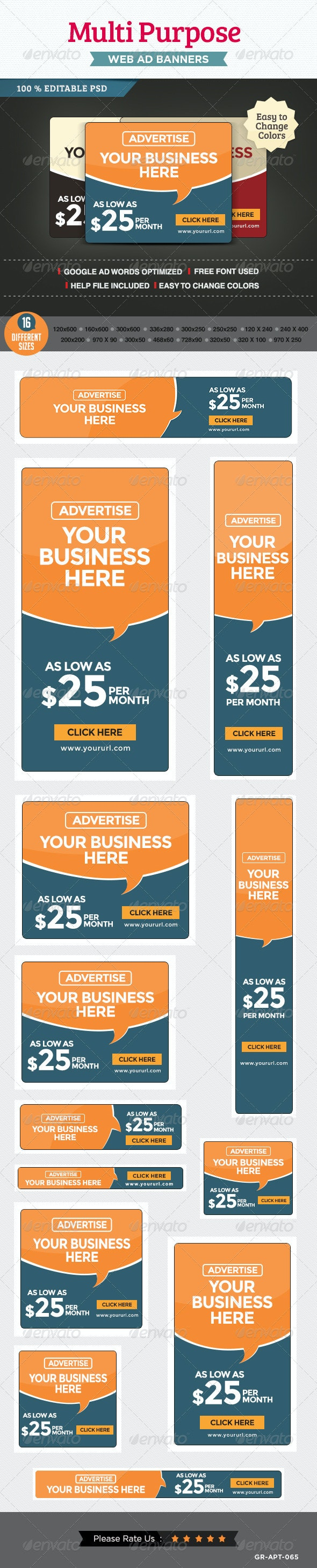 Multi Purpose Banner Ads - Banners & Ads Web Elements