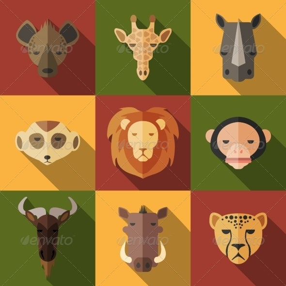 Animal Portrait Set with Flat Design - Animals Characters