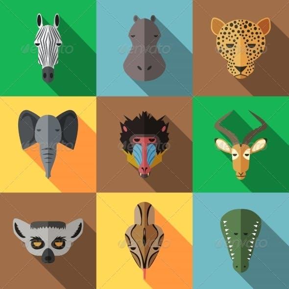 Animal Portrait Set with Flat Design