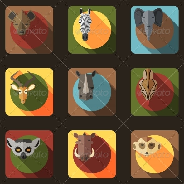 Animal Portrait Set with Flat Design