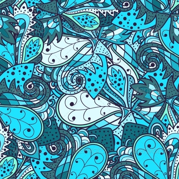 Seamless Abstract Hand-Drawn Waves Pattern - Patterns Decorative