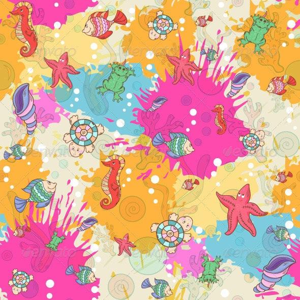 Seamless Pattern with Sea Inhabitants - Patterns Decorative