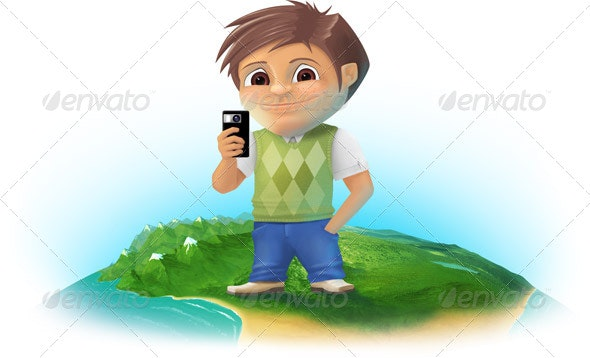 Boy Making a Photo with Smartphone - People Illustrations