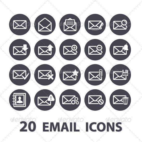 Email Icons Set - Web Elements Vectors