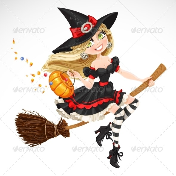 Witch with Candy in a Pumpkin - Halloween Seasons/Holidays