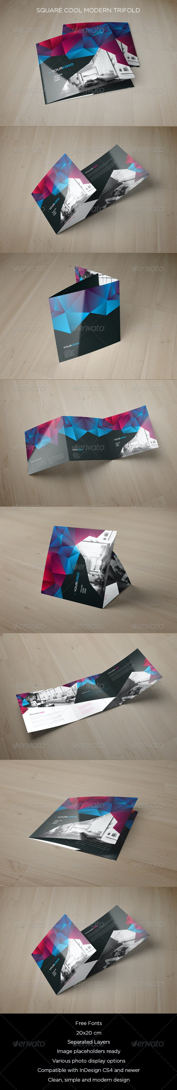 Square Cool Modern Trifold - Brochures Print Templates
