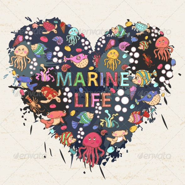 Marine Life in the Shape of a Heart with Text - Backgrounds Decorative