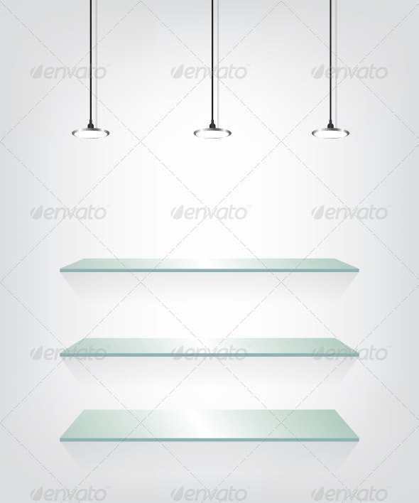 Glass Shelves with Spotlight - Objects Vectors