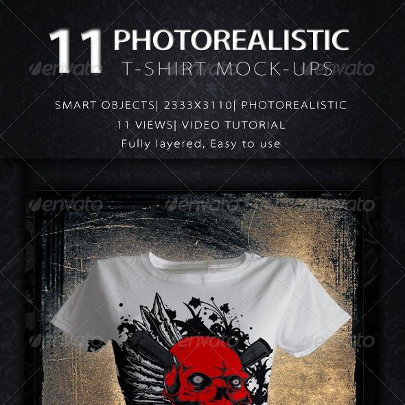 11 Photorealistic Female T-Shirt Mock Up