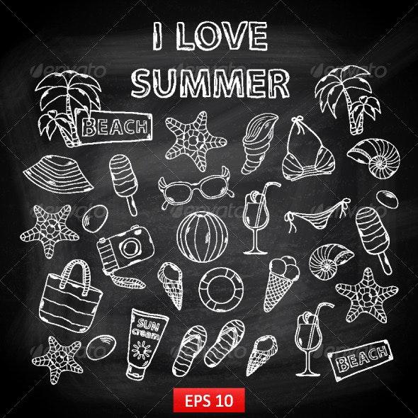 Scrap Set I love Summer on Blackboard - Seasons/Holidays Conceptual