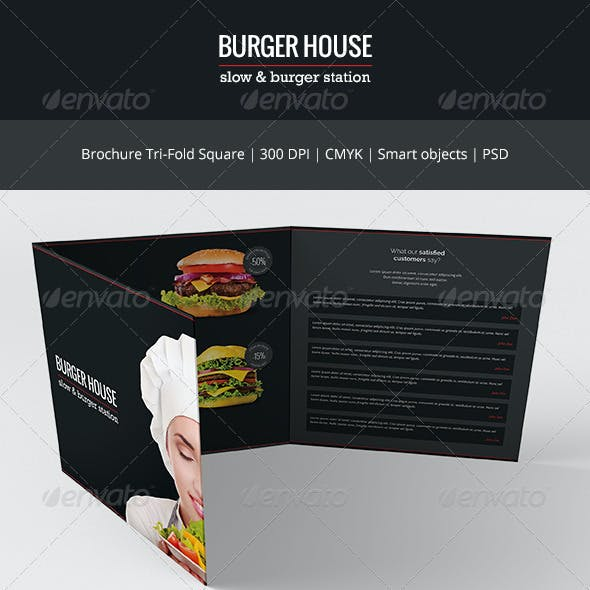 Burger House Tri-Fold Square Brochure