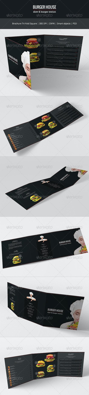 Burger House Tri-Fold Square Brochure - Food Menus Print Templates