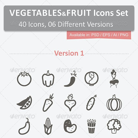 40 Vegetables and Fruits Icons Set