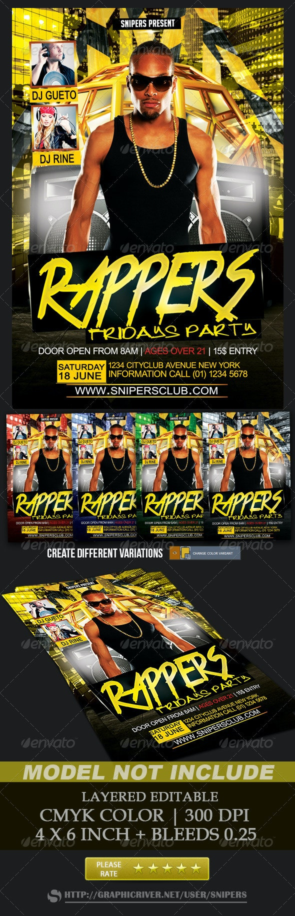 Rappers Fridays Party - Events Flyers