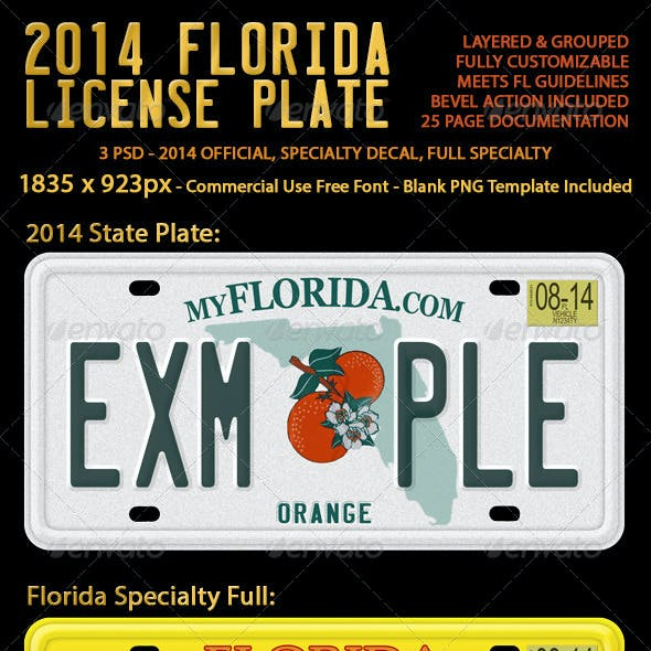2014 Florida License Plate (3 Versions)