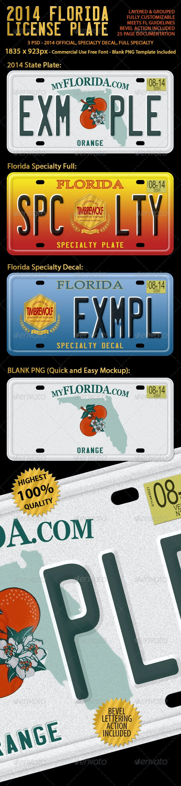 2014 Florida License Plate (3 Versions) - Objects Illustrations
