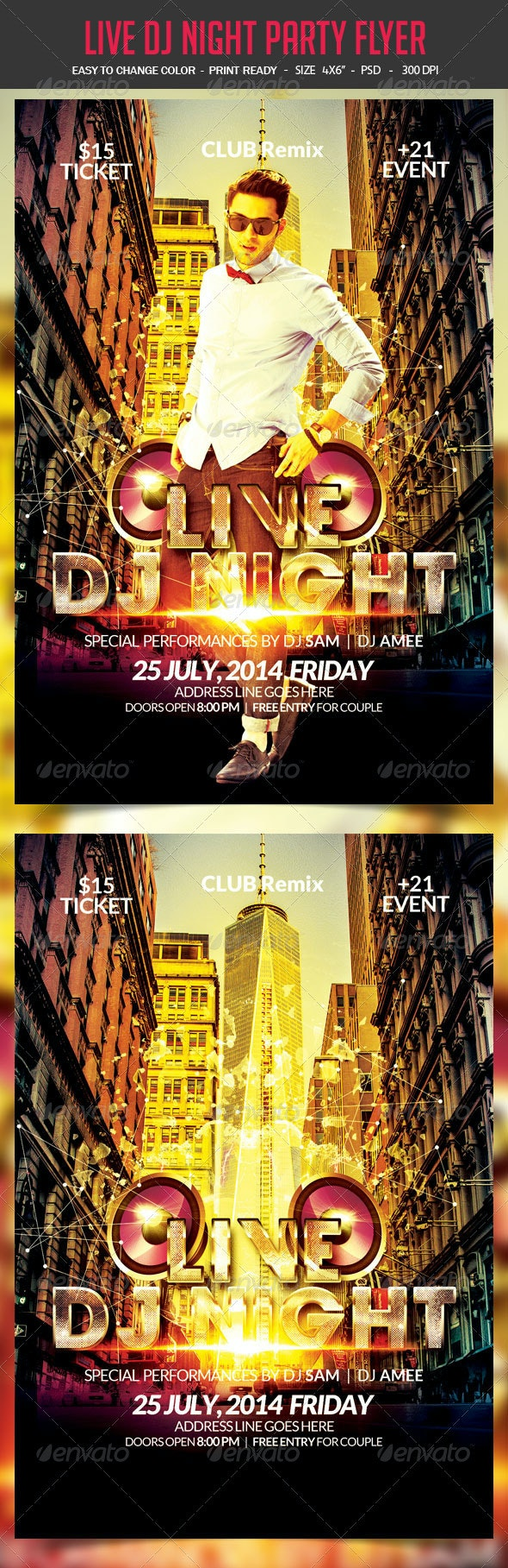 Live Dj Night Party Flyer - Clubs & Parties Events