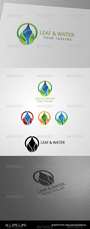 Green Leaf Water Drop Logo - Nature Logo Templates