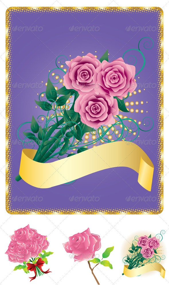 Card with Pink Roses - Miscellaneous Seasons/Holidays