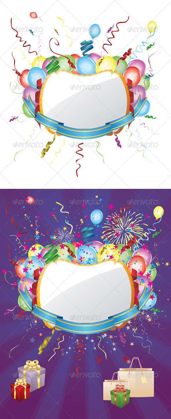 Party Invitation Card with Balloons - Miscellaneous Seasons/Holidays