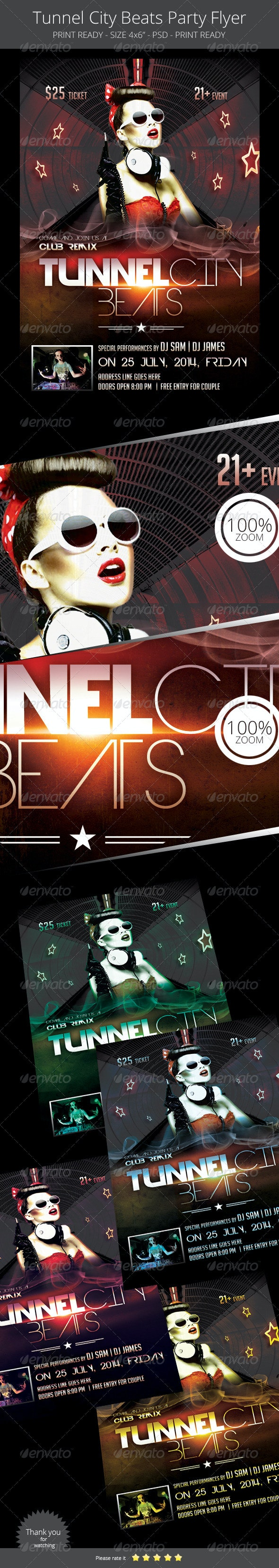 Tunnel City Beats Flyer - Clubs & Parties Events