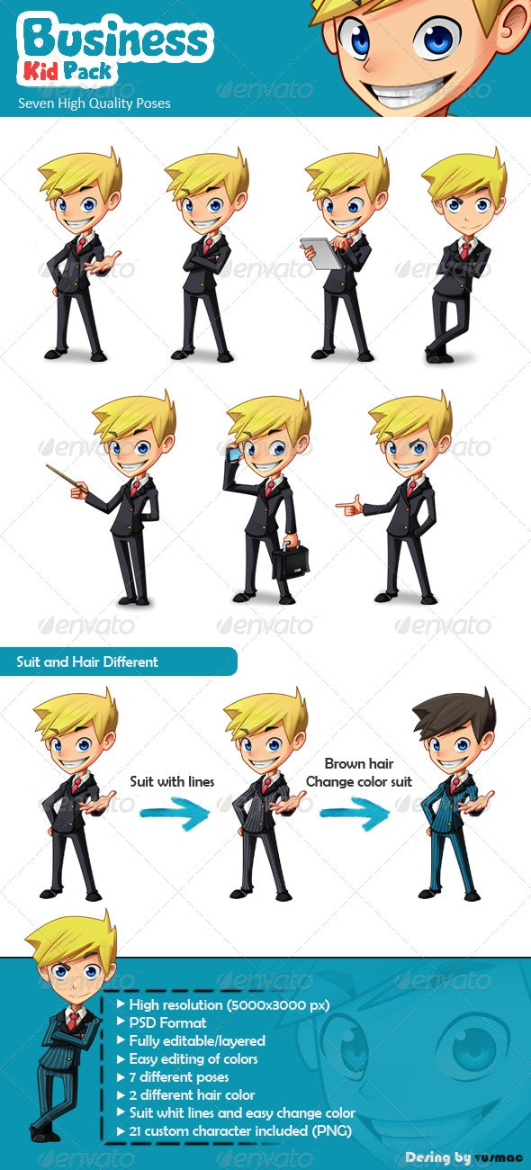Business Kid Pack - Characters Illustrations
