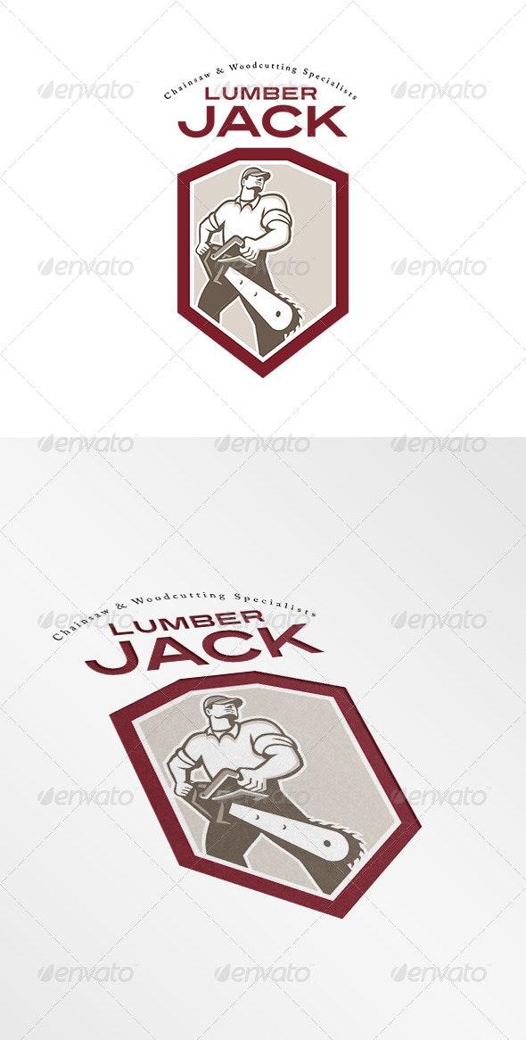 Lumberjack Chainsaw Logo - Humans Logo Templates