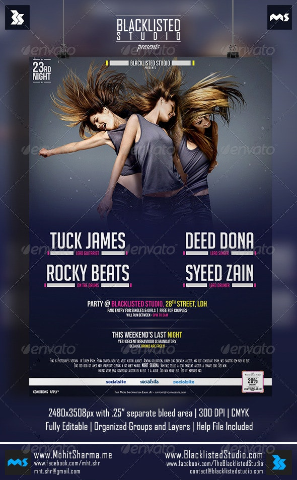 Standard Flyer - Clubs & Parties Events
