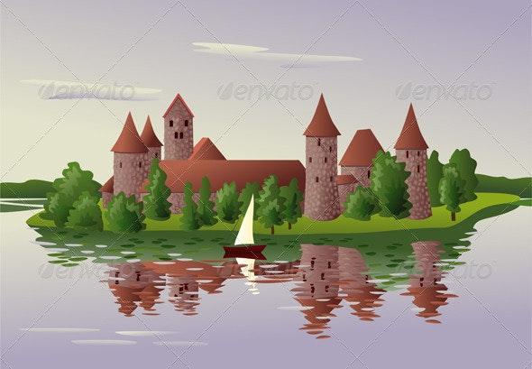 Medieval Castle on the Lake Island - Buildings Objects