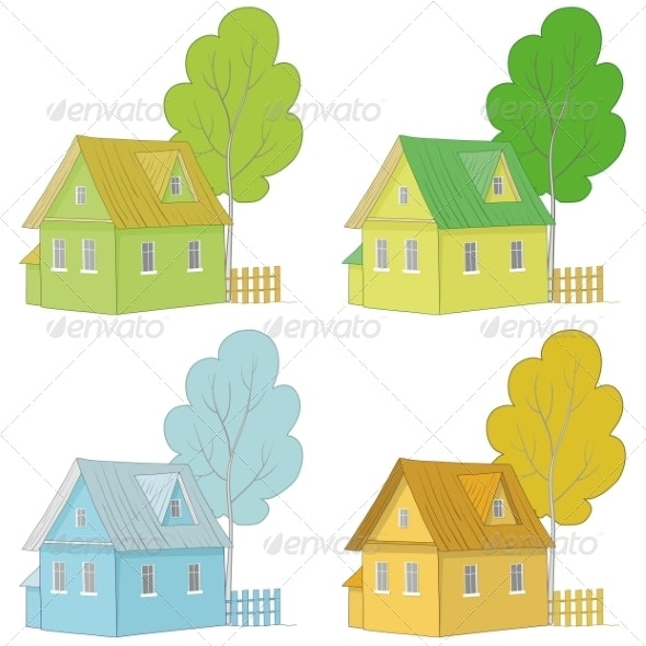 Cartoon Colorful Houses and Trees - Buildings Objects