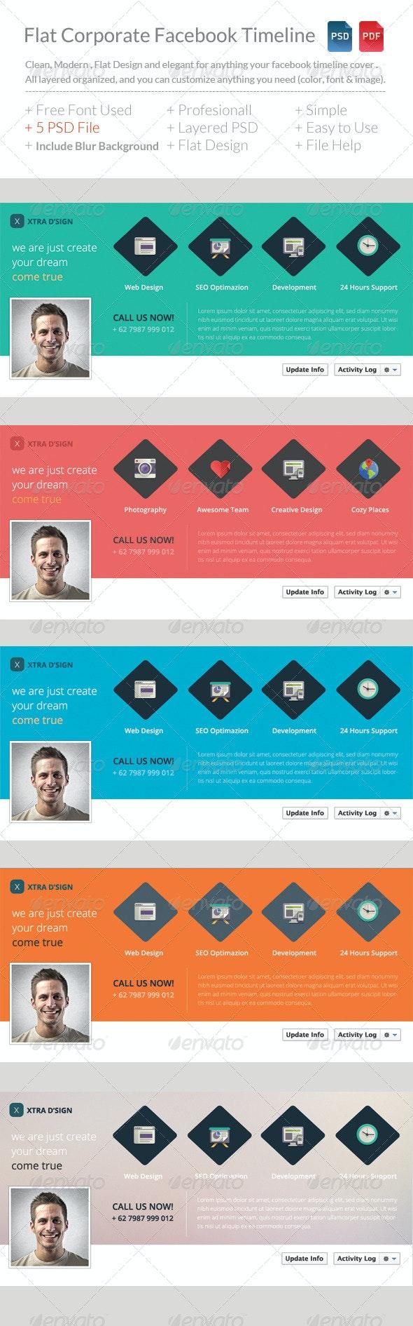 Flat Corporate Facebook Timeline V5 - Facebook Timeline Covers Social Media