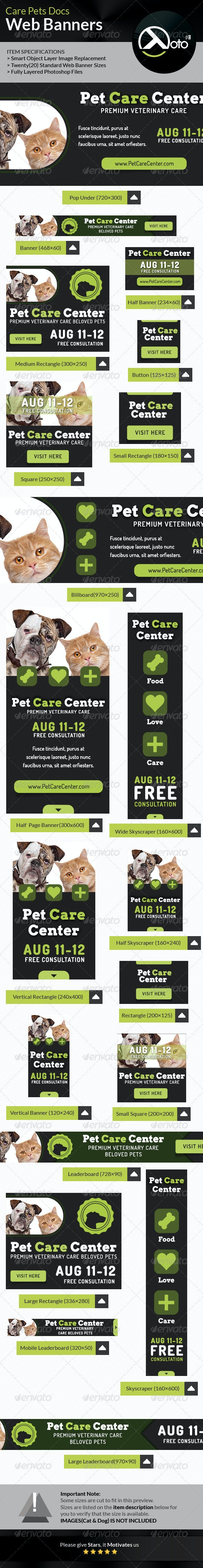 Care Pets Docs Veterinary  Web Banner - Banners & Ads Web Elements