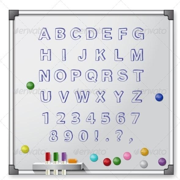 White Board Handrawn Alphabet - Man-made Objects Objects