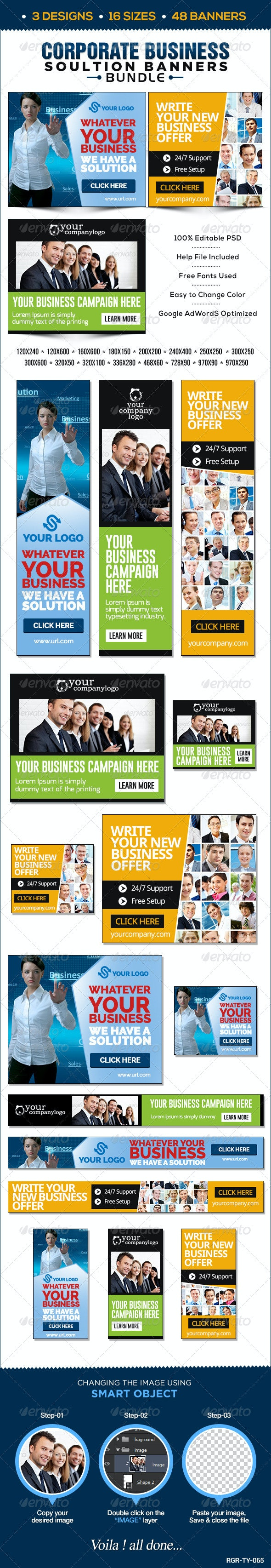 Corporate Banners Bundle - 3 Sets - Banners & Ads Web Elements