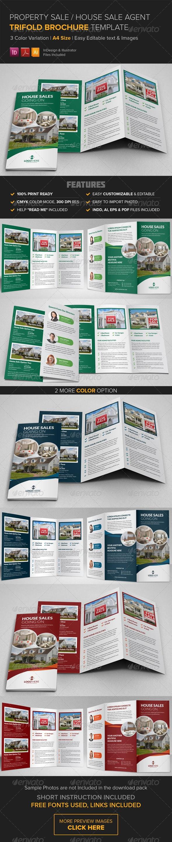 Property Sale Trifold Brochure Template - Catalogs Brochures